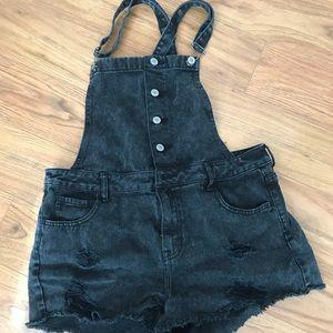 PacSun Black Distressed Jean Short Overalls